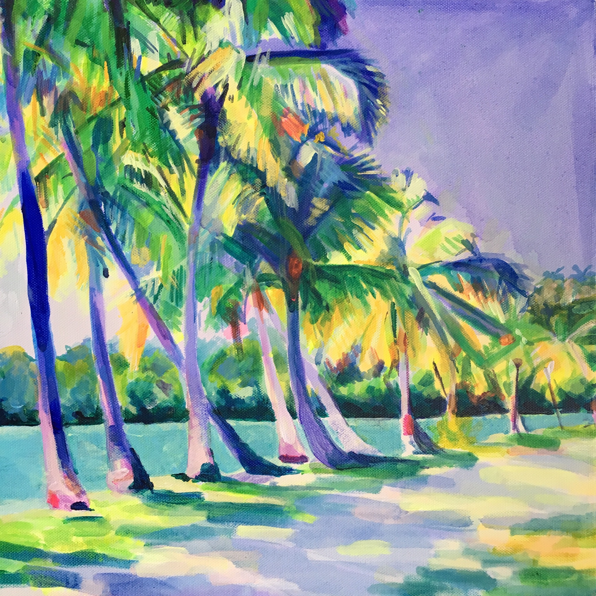 Sundappled path to the remote beach 20 x 20 inches